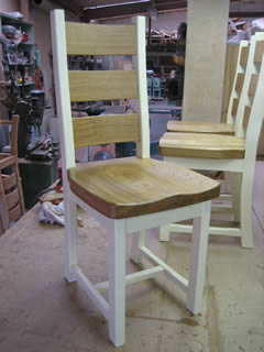 Painted pine chair with oak back and seatpad