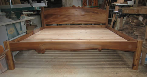 Super-king-size bed in elm with larch slats